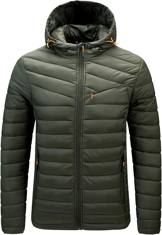 TEVEQ Puffer Jacket for Men Lightweig Oakland 5% OFF Mall Zipper Solid Casual Pocket