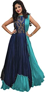 89da0ae0f9 MARUTINANDAN NX Women's Banglory Silk Embroidered Gown with Jacket (Free  Size) (Blue-
