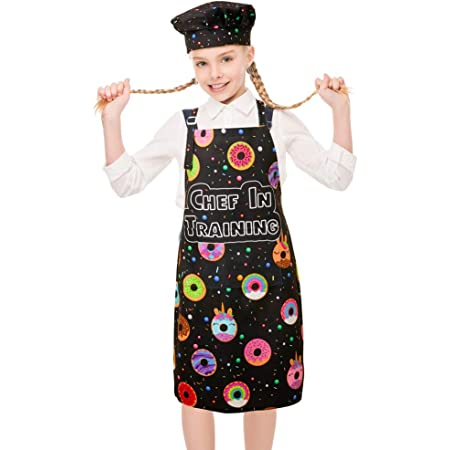 Great for Daughters Little Girls FirstKitchen Cotton Apron for Kids Girls with Pockets Black Peony Floral Pattern Apron for Children Kid Girl