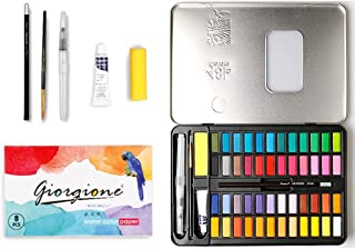 48 Colors Watercolor Paint Set Art Watercolor Pan Watercolor Brushes and Paper in Gift Tin Box, Perfect for Kids/Adults Pr...