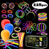 iGlow Glow Sticks Bulk Party Pack Multicolor Non Toxic 228 Pieces Light Stick Set
