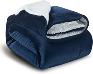 BEDSURE Sherpa Fleece Blanket Throw Size Navy Blue Plush Throw Blanket Fuzzy Soft Blanket Microfiber