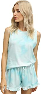 Womens Tie Dye Printed Sleeveless Tops and Shorts 2 Piece Pajamas Sleepwear