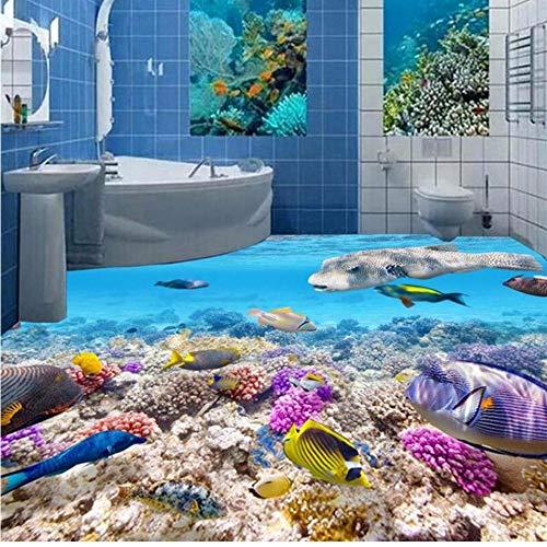 Wuyyii vloeren op de vloer van de high-definition onderwater wereld vissen 3D stereo tegel vloer gelijkspel kamer slaapkamer 3D-verdieping 250x175cm