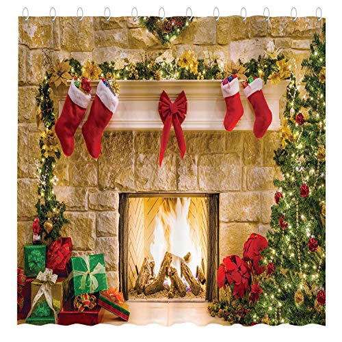 Funnytree Christmas Fireplace Shower Curtain Set with Hooks Winter Interior Xmas Tree Stockings Home Bathroom Bathtubs Decor Easy Care Waterproof Washable Durable Polyester Fabric 72'x72'