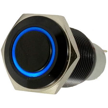E Support Schwarz Shell Kfz Auto Kippschalter Druckschalter Schalter Drucktaster Druckknopf 16mm 12v 3a Blau Led Licht Metall Auto