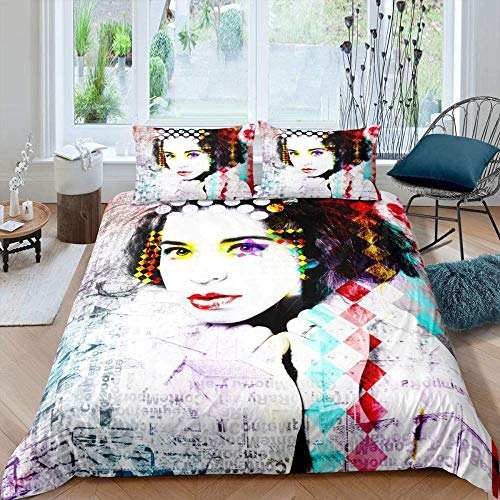 Evvaceo Child Bedding Set Duvet Cover And Pillowcase Sexy Woman With Abstract Colorful Graffiti 135 Cm X 200 Cm 3D Print Bedding 3-Piece Set Zipper Closure Teens Boy Girl Baby Superfine F(individual)