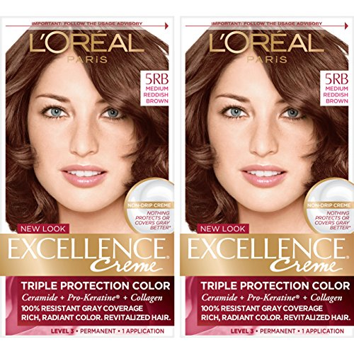 L'Oreal Paris Excellence Creme Permanent Hair Color, 5RB Medium Reddish Brown, 100% Gray Coverage Hair Dye, Pack of 2