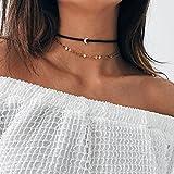 Kercisbeauty Gargantilla de terciopelo negro para mujeres y niñas, media luna, lentejuelas, oro, joyería bohemia