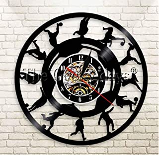 ZFANGY Vinyl Record Wall Clock Football Players Silhouette Wall Clock Soccer Kicking Ball Vinyl Record Vintage Clock Sports Room Wall Decor