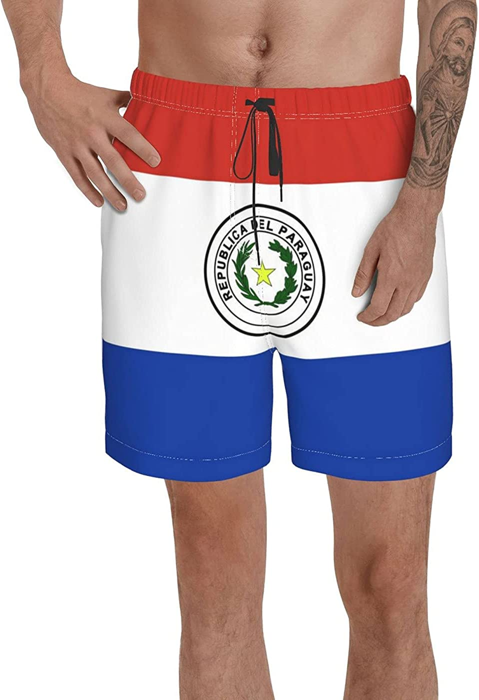 Count Paraguay Flag Men's 3D Printed Funny Summer Quick Dry Swim Short Board Shorts with