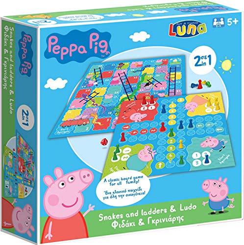 Luna 2in1 Brettspiel Peppa Pig mit Spieleklassiker Ludo Leiterspiel Gesellschaftsspiel +5J