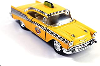 HCK Chevy Bel Air Taxi Cab Diecast Model Toy Car Yellow