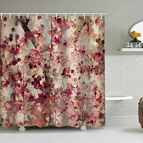 72 x 72 inches Fabric Shower Curtain with Hooks Fall Beautiful Pink Cherry Burgundy Flowers Leaves Tree Branch Pink Floral Cherry Brown Leaves Bathroom Decor Waterproof Machine Washable