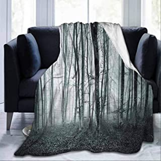 dsdsgog Flannel Blankets Home Cute Soft Black and White,Grunge Shaded Color Foggy Mystic Dark Forest Tall Trees Horror Theme Print,Black White,60