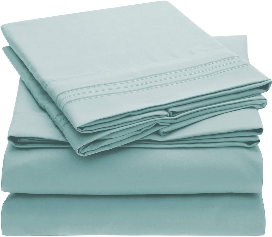 Mellanni Extra Deep Pocket Twin XL Sheet Set - Luxury 1800 Bedding Sheets & Pillowcases - Fits College Dorm Room Mattress - Ultra Soft Cooling Bed Sheet Set - Easy Care - 3 PC (Twin XL, Baby Blue)