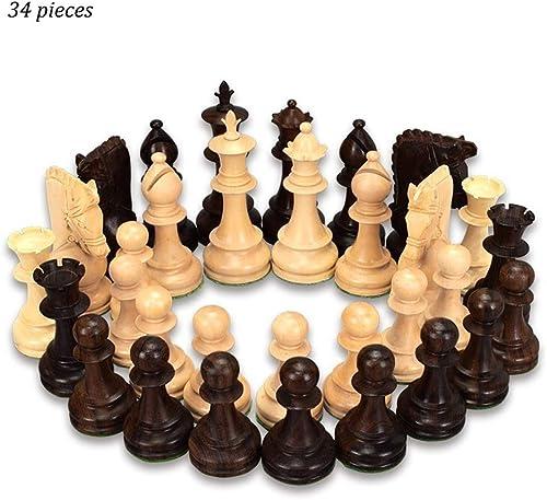 connotación de lujo discreta Damas de de de ajedrez de Madera Internacional 34 Piezas Damas de Madera de Color Beige y marrón Pieza de ajedrez Niños Desarrollo Intelectual Aprender Juguetes Juegos al Aire Libre (Color   Beige+marrón)  promociones de equipo