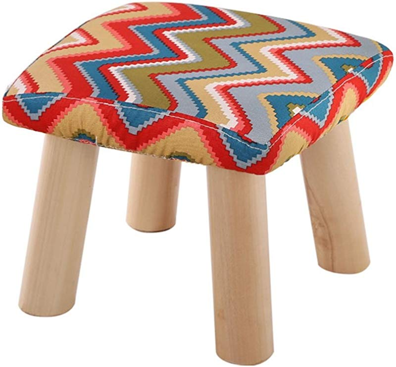 YAnFAn Stools Footstool Ottomans Premium Quality Comfort Fashion Solid Wood Shoes Stool 4 Legs Square Upholstered Footstool Sofa Low Stool Footrest 28x28x25cm For Home Commercial
