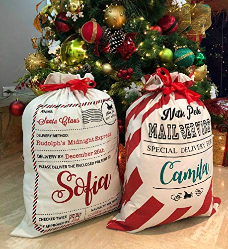 """Santa Sack Personalized Bags Christmas Large Santa Sacks for Kids [2-Pack], Holidays Xmas Gifts Canvas Bags, Toys Storage and Personalized Tree Decorations [Extra Large 27.5"""" x 19.6""""]"""