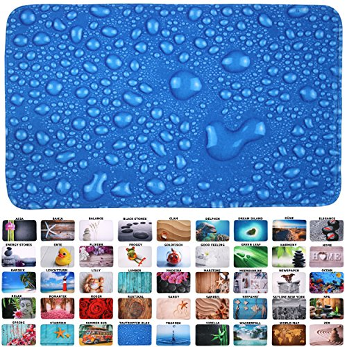 Sanilo Badteppich I viele schöne Badematten zur Auswahl I Badvorleger sehr weich und rutschfest I waschbar und schnelltrocknend (70 x 110 cm, Tautropfen Blau)