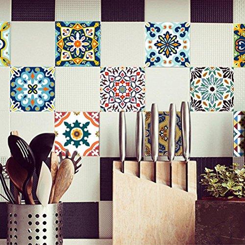 MINRAN DECOR BJ Art de tuiles Mural - Adhésif carrelage   Sticker Autocollant Carrelage - Mosaïque carrelage Mural Salle de Bain et Cuisine   - 20x20 cm - 10 pièces TS001
