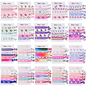 SIQUK 100 Pieces Unicorn Hair Ties Elastic Hair Bands Ponytail Holder Colorful Bracelet Party Favors Gifts Supplies for…