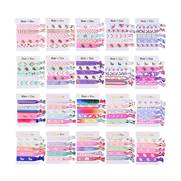SIQUK 100 Pieces Unicorn Hair Ties Elastic Hair Bands Ponytail Holder Colorful Bracelet Party Favors Gifts Supplies for Girls 3