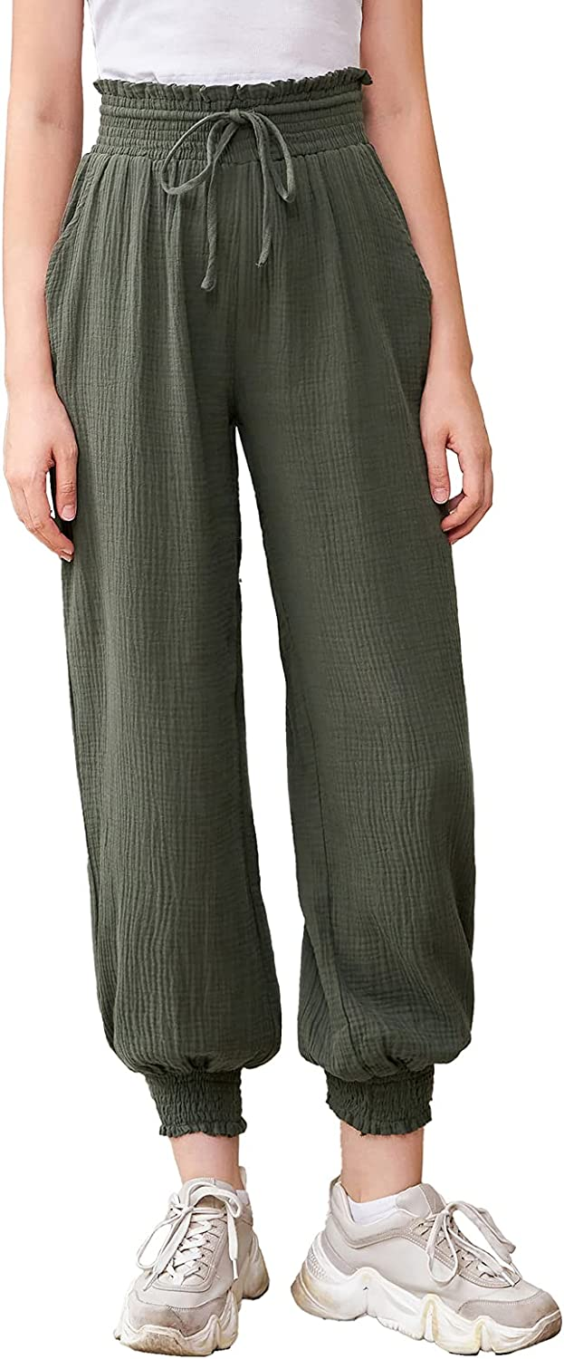 GRACE KARIN Mommy and Me Elastic Waist Cotton Jogger Pants Comfy Loose Sweatpant with Pockets