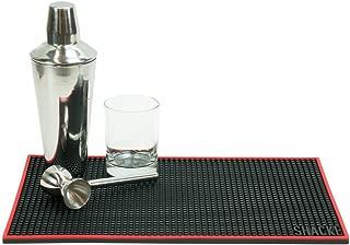 Shacke 18 x 12 inch Bar Service Mat (Black with Red Rim)