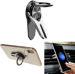Winique 携帯電話指リングキックスタンドケース 車載ホルダー スマホスタンド [ 360度回転可 着脱簡単 ] [ 片手操作 多機種対応 ] [ 車のエアコンベントホルダー ] [ 携帯電話卓上スタンド ] [ 車のエアコンベント ] (黒)