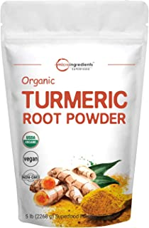 Organic Turmeric Root Powder, 5 Pounds (80 Ounce), Pure Turmeric Supplement, Contains Active Curcumin and Immune Vitamin C...