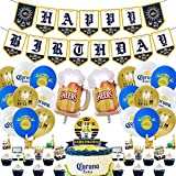 Corona Beer Birthday Party Supplies,Corona Beer Party Decorations Set Includes Cupcake Toppers, Balloons ,Birthday Banner, Cake Topper For Adults Man Women Party Decorations