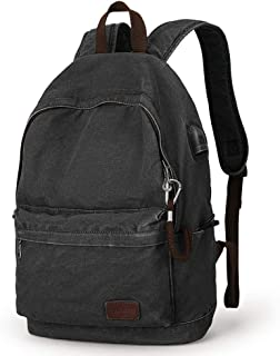 Muzee Canvas Backpack with USB Charging Port for Men Women, Lightweight Anti-Theft Travel Daypack College Student Rucksack Backpack Fits up to 15.6 inch Laptop Backpack Black