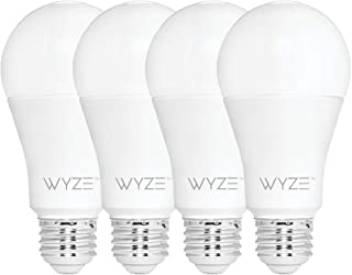 Wyze Labs WLPA19-4 800 Lumen A19 LED Smart Home Light Bulb, Adjustable white temperature and brightness, works with Alexa ...