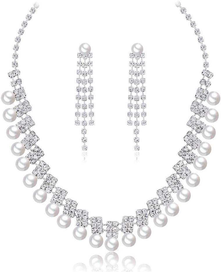 Urns Ashes Funeral Women's Jewelry Set Crystal Party Wear Pearl Neckle Set For Women Jewellery Set With Earrings For Women Girls Neckle Earrings Set Wedding (Color : White, Size : Free size),Size:Free
