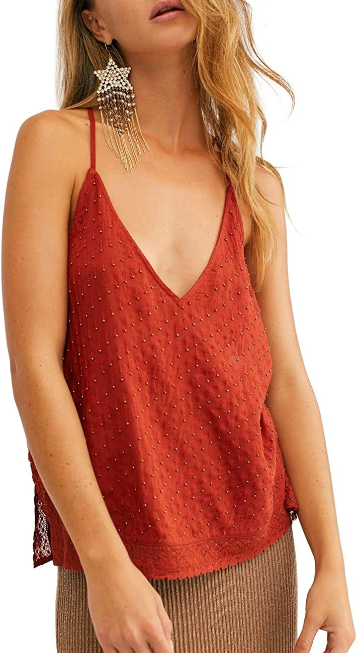 Free People Bright Lights Red Cami Size XS