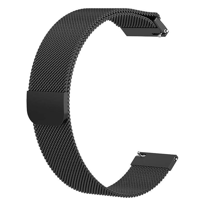 逃げるロンドン顎ギャラクシーウォッチ アクティブ Galaxy Watch Active 2 に対応 22mm スマートウォッチバンド ステンレス ストラップ 交換用ベルト 時計バンド casualcatch ブラック