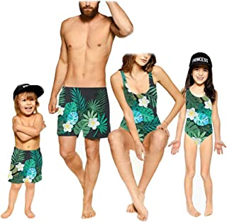 Baby Boy Girl Swimwear Father and Son Swim Trunks Mommy and Me One Piece Swimsuits Leaf Family Matching Bathing Suits