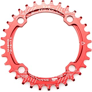 CYSKY Narrow Wide Chainring 104BCD 32T 34T 36T 38T 4 Bolts Bike Single Chainring for 9 10 11 Speed, Perfect for Road Bike Mountain Bike BMX MTB Fixie Track Fixed-Gear Bicycle (Round, Red)