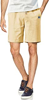 FASKUNOIE Men's Flat Front Casual Shorts Lightweight Elastic Summer Cotton Shorts with Pockets