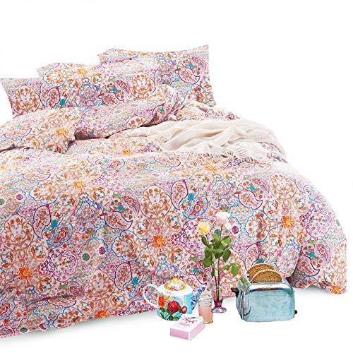 Wake In Cloud - Bohemian Comforter Set, Boho Chic Mandala Moroccan Pattern Printed, 100% Cotton Fabric with Soft Microfiber Inner Fill Bedding (3pcs, King Size)