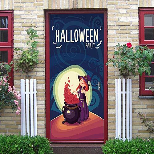 BXZGDJY 3D Tür Hintergrundbild Selbstklebend Film - Halloween Kreativität 80X200Cm Pvc Abnehmbare Tür Film Diy Aufkleber Blume Wohnzimmer Schlafzimmer Kinder Restaurant Büro Bar Tür Kunst Dekoration