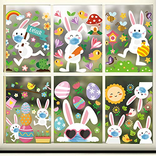 CCINEE 154PCS Easter Window Clings Stickers,Bunny Egg Quarantine Window Decals in Double-Sided for Home Decoration Party