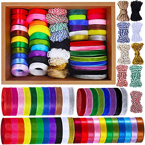Supla 50 Rolls 300 Yards 5 Kinds of Ribbons Satin Ribbons Grosgrain Ribbons Organza Ribbons Wrapping Ribbon Velvet Ribbon Blue Red White Yellow Pink Black Navy Purple Ribbons 3/8