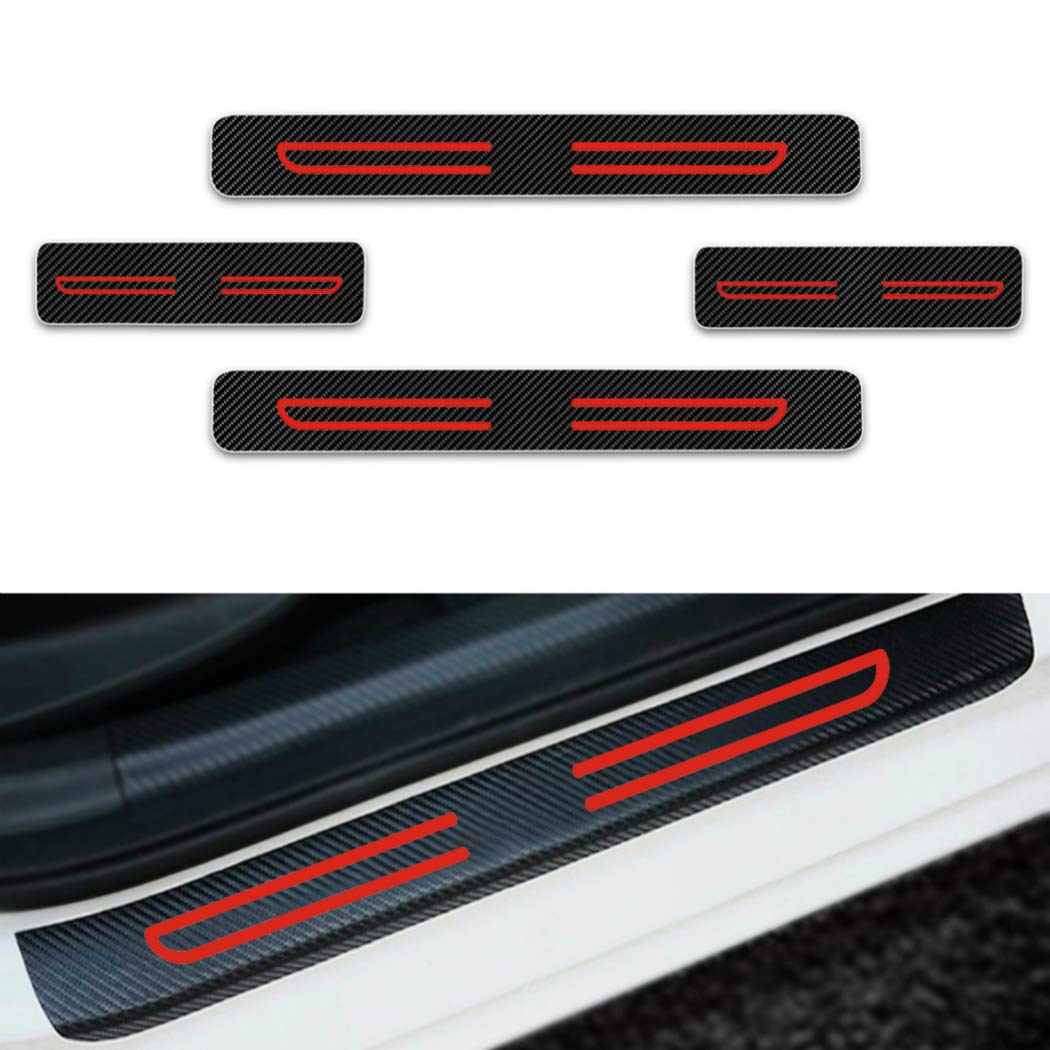For Tacoma Sienna Tundra Verso Vios Yaris Door Sill Protector,Kick Plates Pedal Threshold Cover Carbon Fiber Sticker Anti-Scratch Anti-Slip Car Styling 4Pcs White