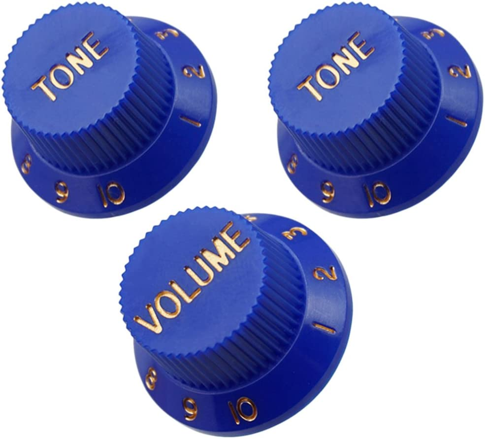 as described 3pcs Plastic Guitar Speed Control Knobs 2 Tone 1 Volume For Strat ST SQ Part Blue