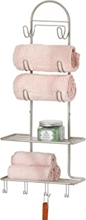 mDesign système de rangement en métal avec 2 compartiments & 10 crochets – étagère murale salle de bain, cuisine ou couleu...