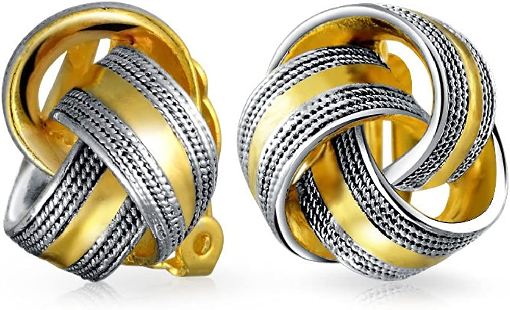 Twisted Cable Edge Love Knot Work Clip On Earrings Two Tone Non Pierced Ears Black Oxidized 14K Gold Plated Brass