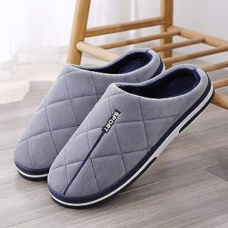 B/H Homme Confort Chauds Accueil Pantoufles,Chaussons en Coton pour Hommes, épais et Chauds en Automne et en hiver-47-48_G...