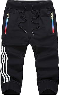 Flygo Men's 3/4 Capris Jogger Pants Fitness Athletic Track Shorts Sweatpants